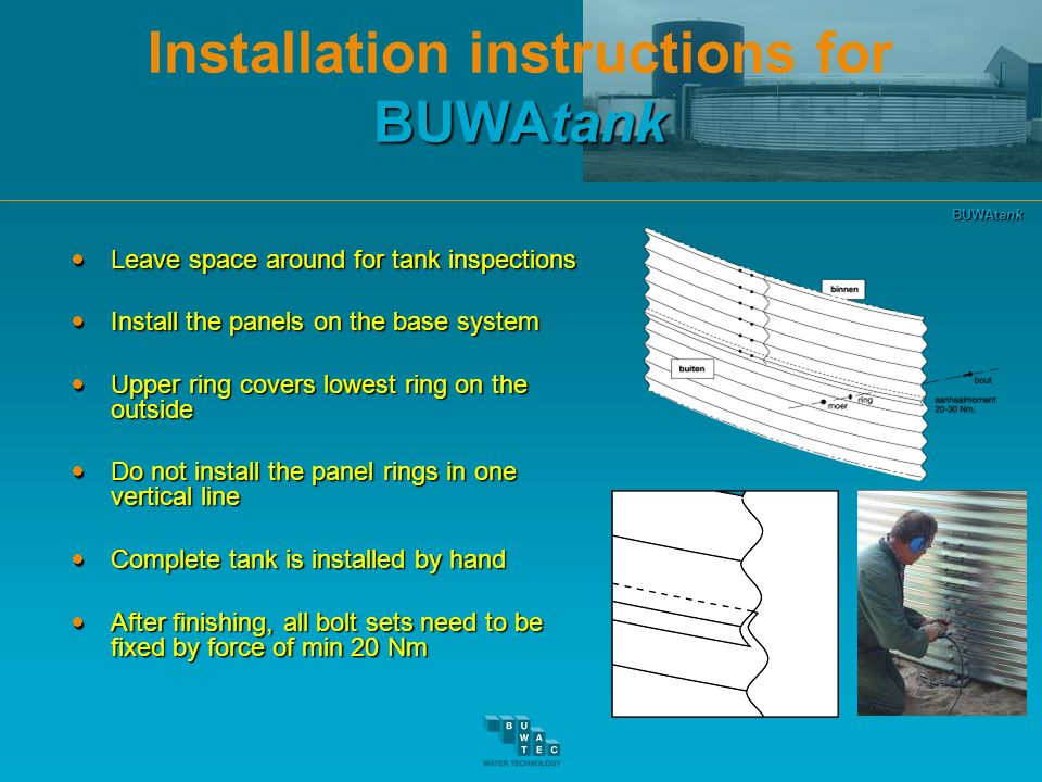 Installation instructions for BUWAtank