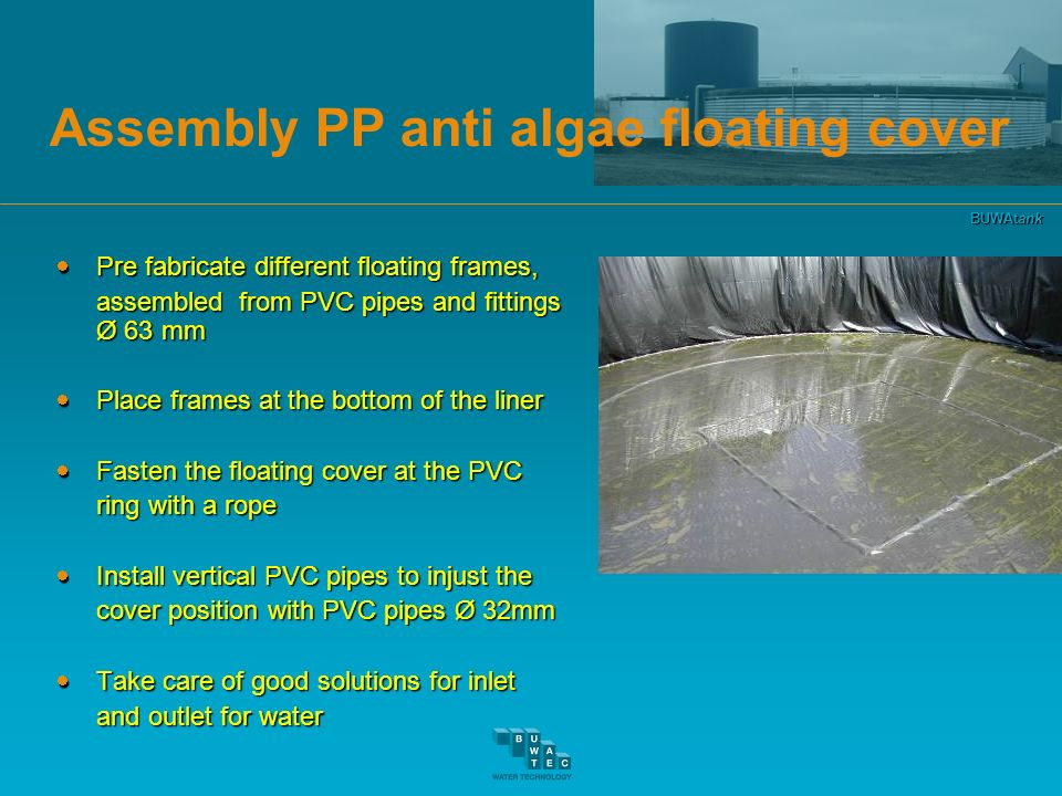 Assembly PP anti algae floating cover