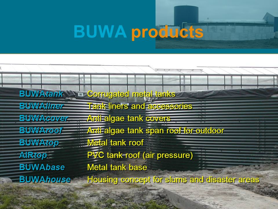 BUWA products BUWAtank Corrugated metal tanks