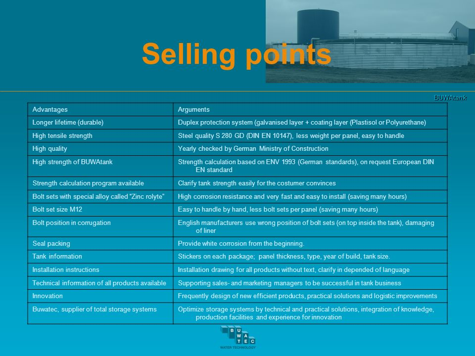 Selling points Advantages Arguments Longer lifetime (durable)