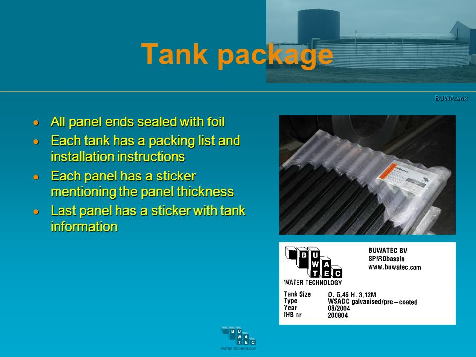 Tank package All panel ends sealed with foil