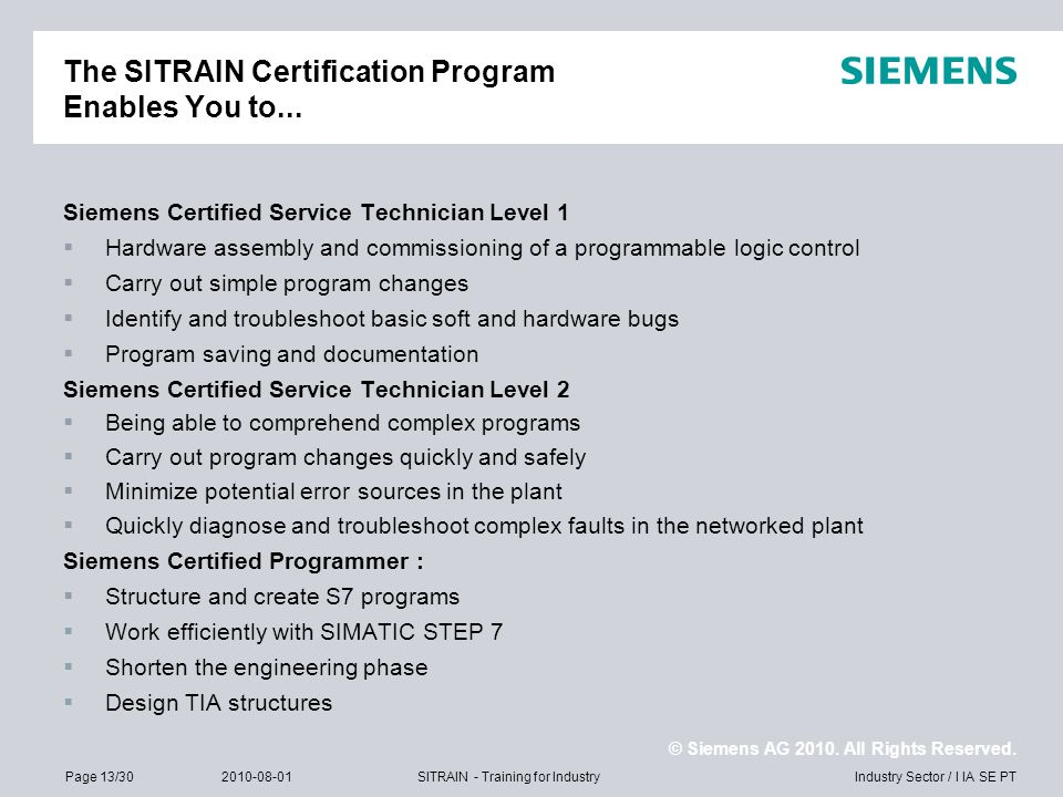 The SITRAIN Certification Program Enables You to...
