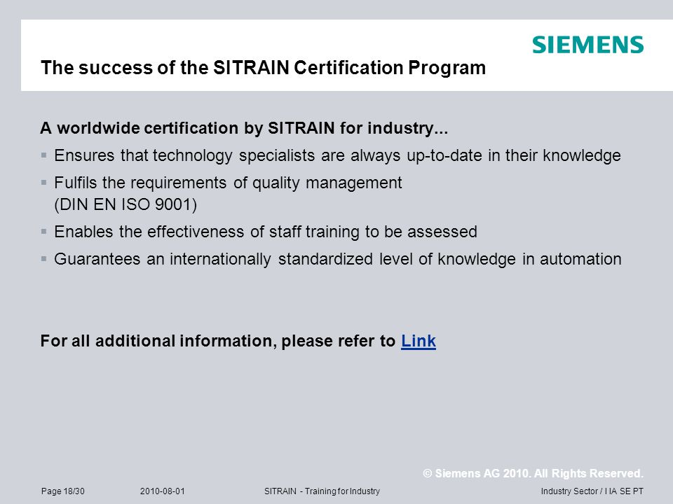 The success of the SITRAIN Certification Program