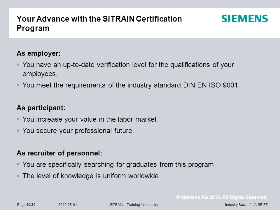 Your Advance with the SITRAIN Certification Program