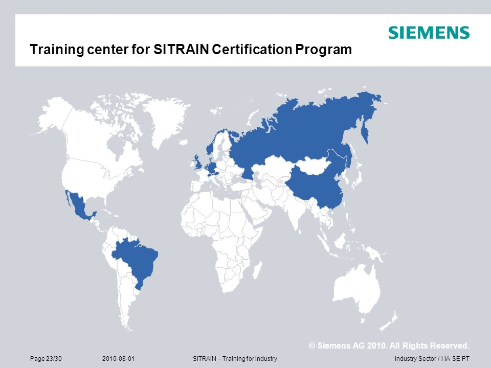 Training center for SITRAIN Certification Program