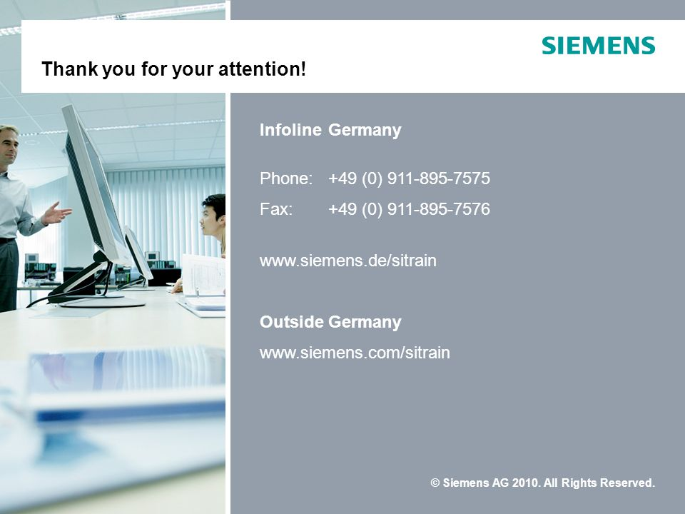 SITRAIN Thank you for your attention! Infoline Germany