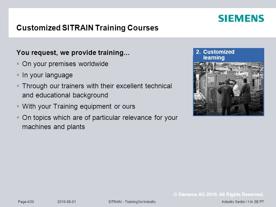 Customized SITRAIN Training Courses