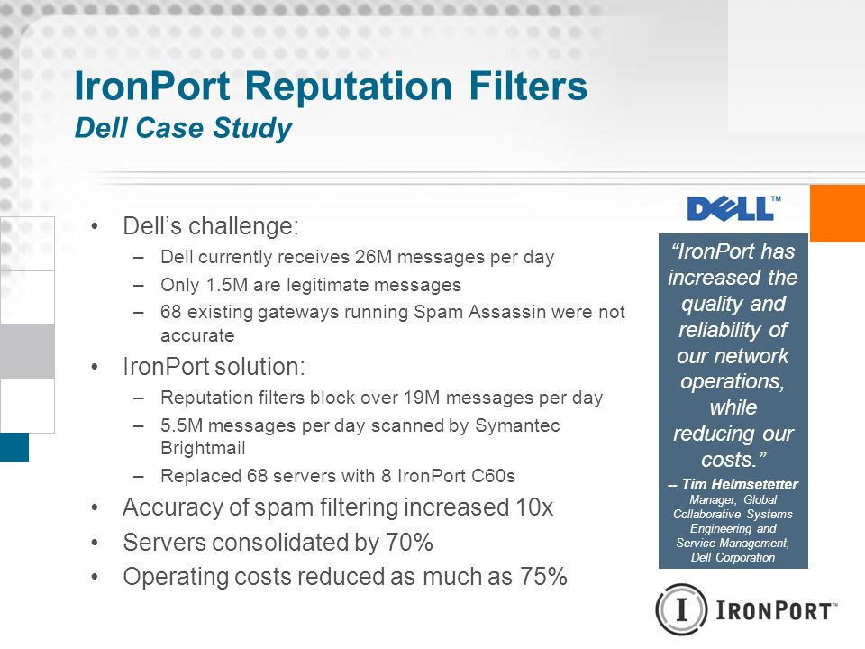 IronPort Reputation Filters Dell Case Study