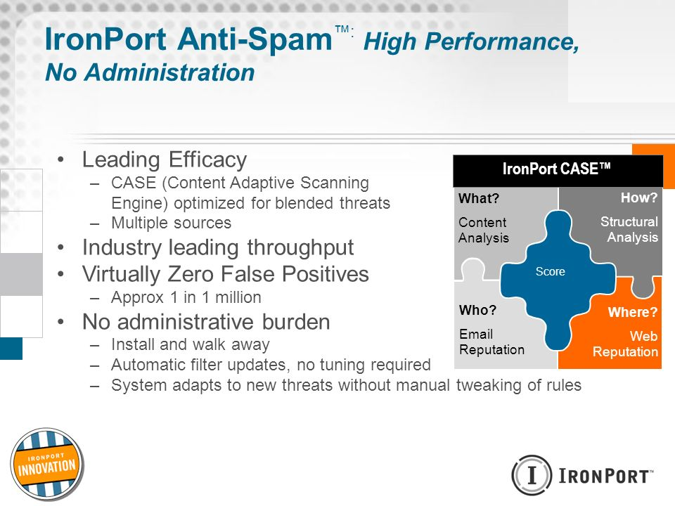 IronPort Anti-Spam™: High Performance, No Administration