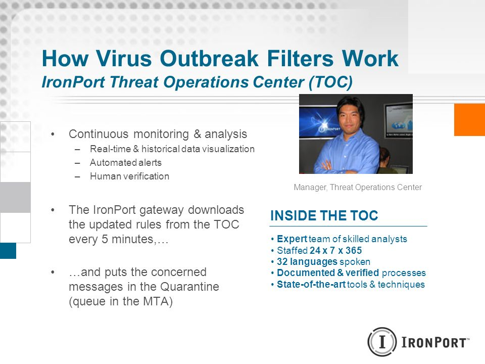 How Virus Outbreak Filters Work IronPort Threat Operations Center (TOC)