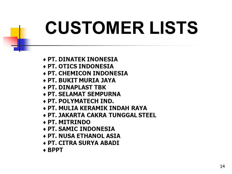 CUSTOMER LISTS ♦ PT. DINATEK INONESIA ♦ PT. OTICS INDONESIA