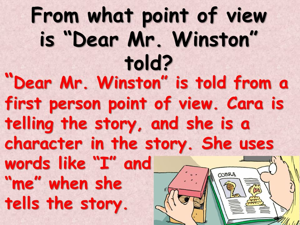 From what point of view is Dear Mr. Winston told