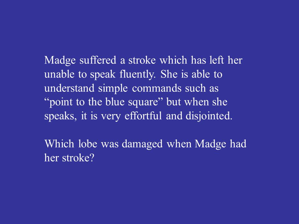 Which lobe was damaged when Madge had her stroke