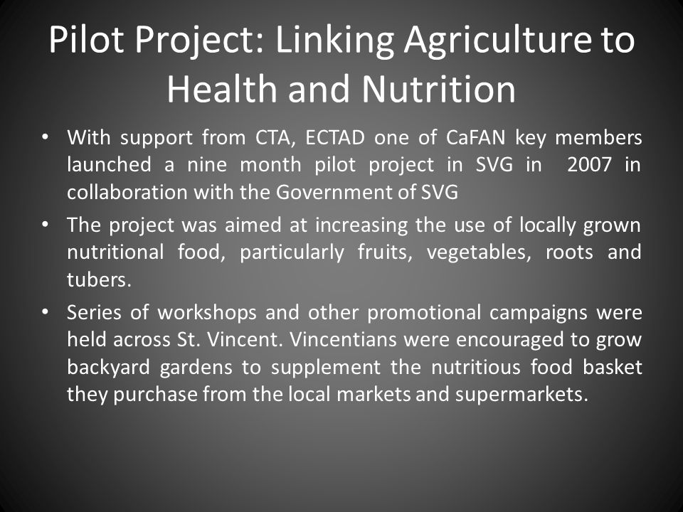 Pilot Project: Linking Agriculture to Health and Nutrition