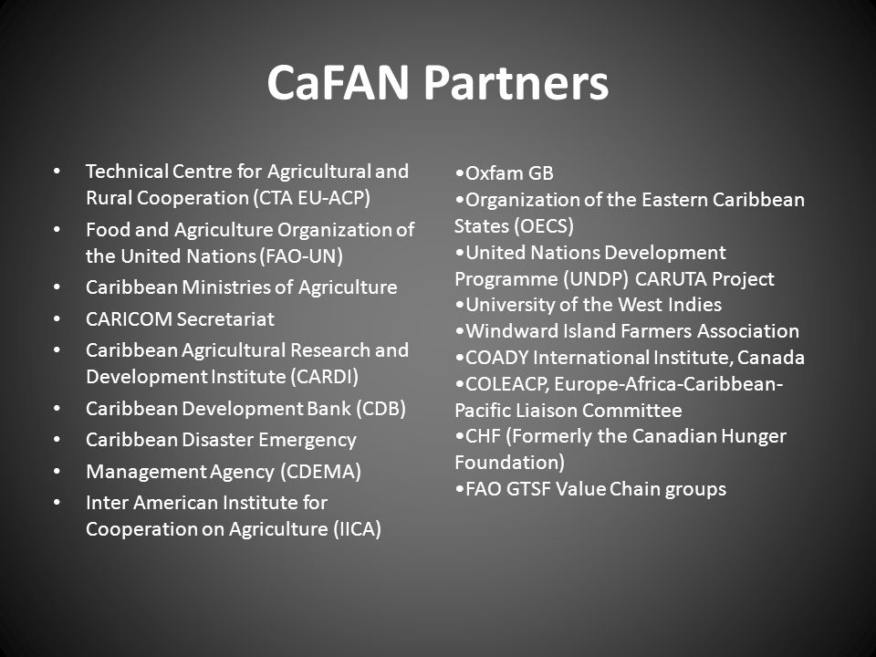 CaFAN Partners Technical Centre for Agricultural and Rural Cooperation (CTA EU-ACP) Food and Agriculture Organization of the United Nations (FAO-UN)