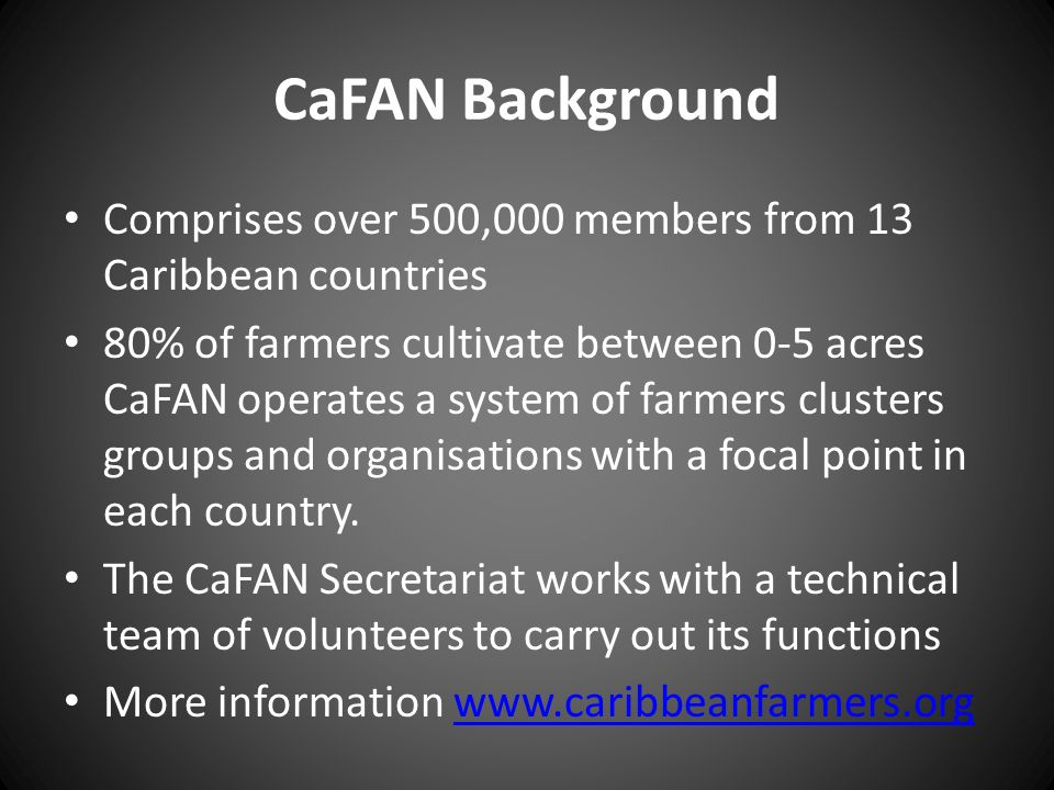 CaFAN Background Comprises over 500,000 members from 13 Caribbean countries.
