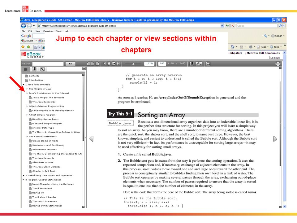 Jump to each chapter or view sections within chapters