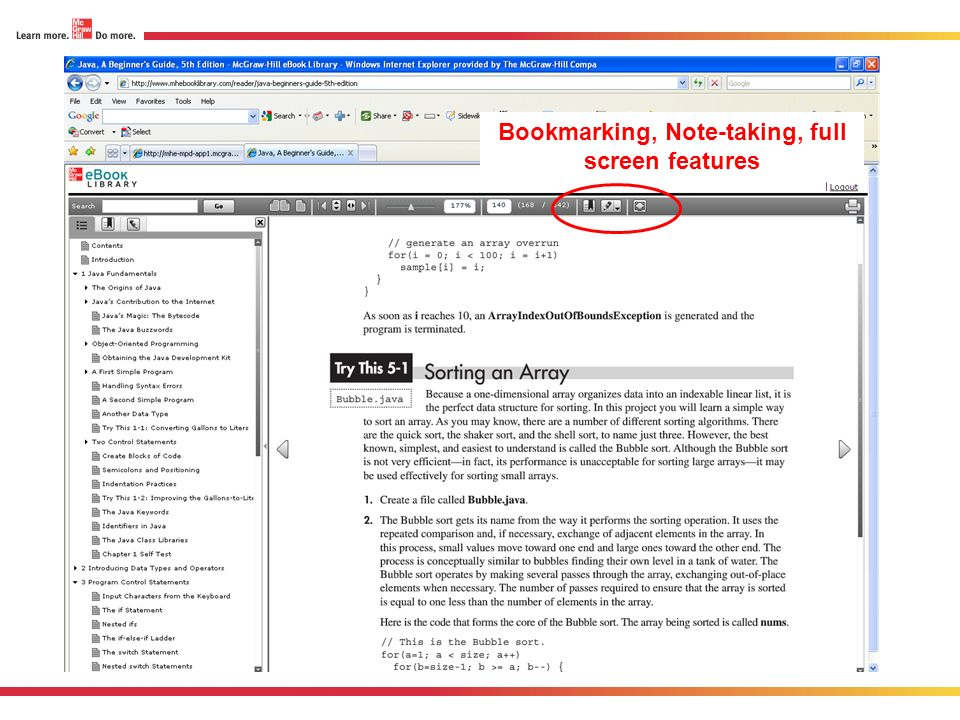 Bookmarking, Note-taking, full screen features