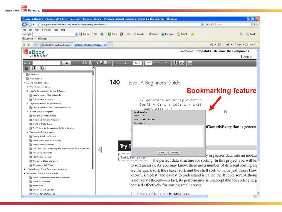 Bookmarking feature