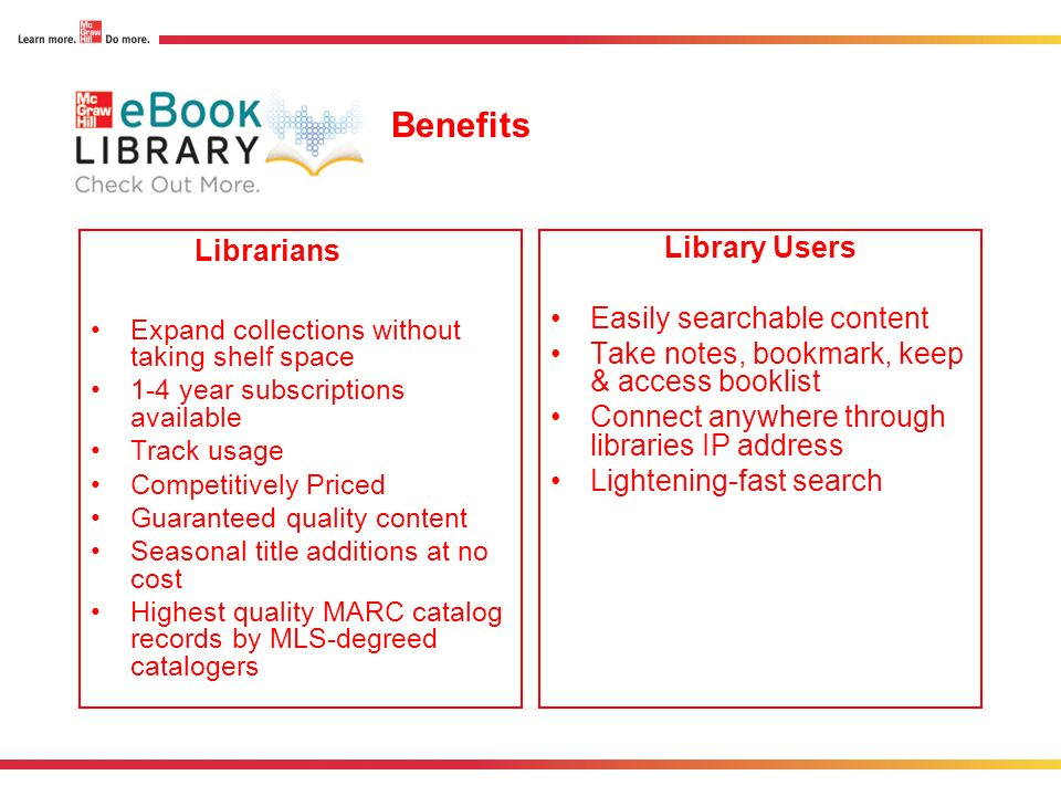 Benefits Librarians Library Users Easily searchable content