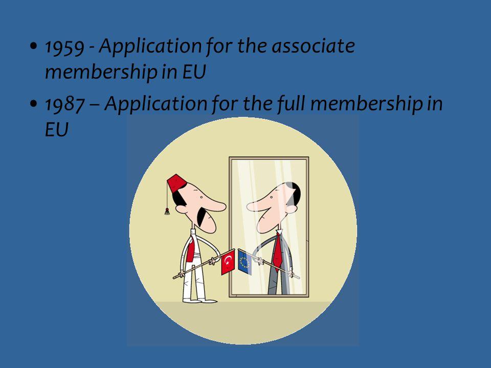 1959 - Application for the associate membership in EU