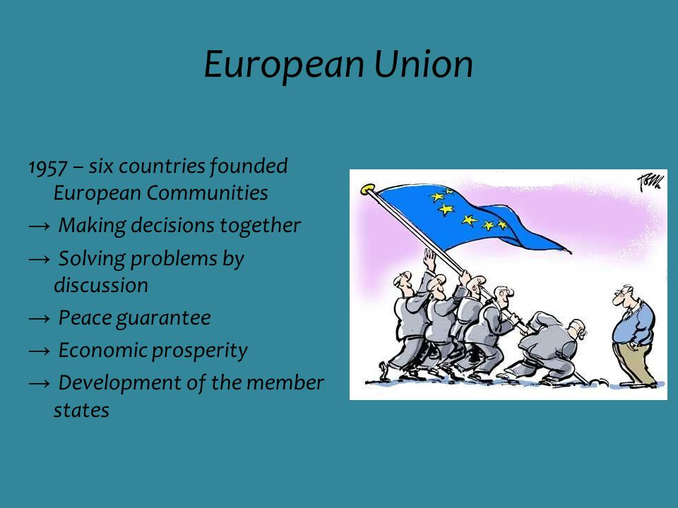 European Union 1957 – six countries founded European Communities