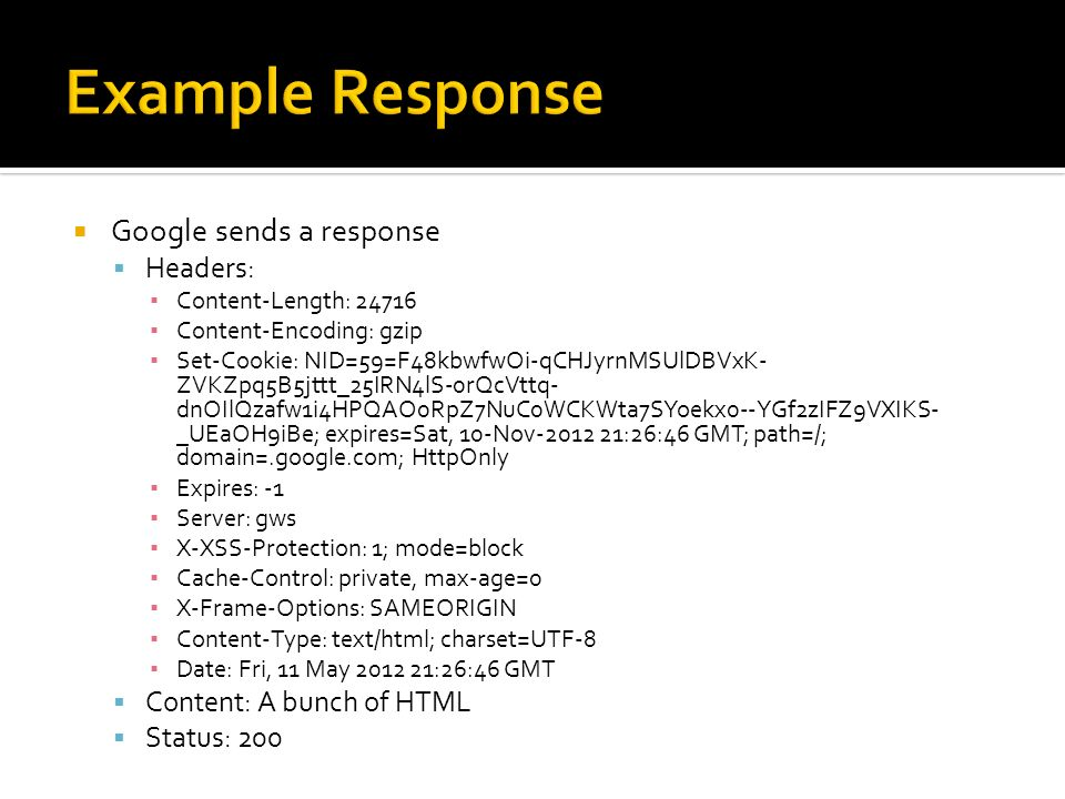 Example Response Google sends a response Headers: