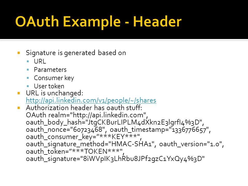 OAuth Example - Header Signature is generated based on