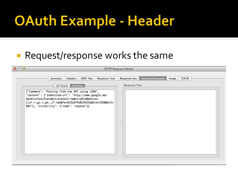 OAuth Example - Header Request/response works the same