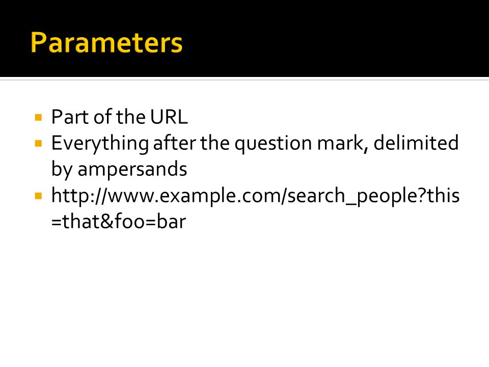 Parameters Part of the URL