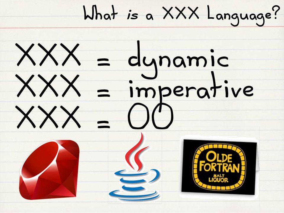 What is a XXX Language XXX = dynamic XXX = imperative XXX = OO