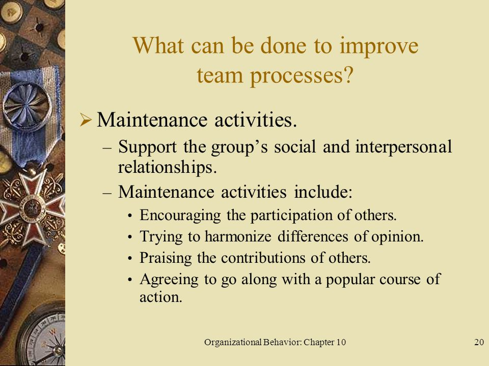 What can be done to improve team processes
