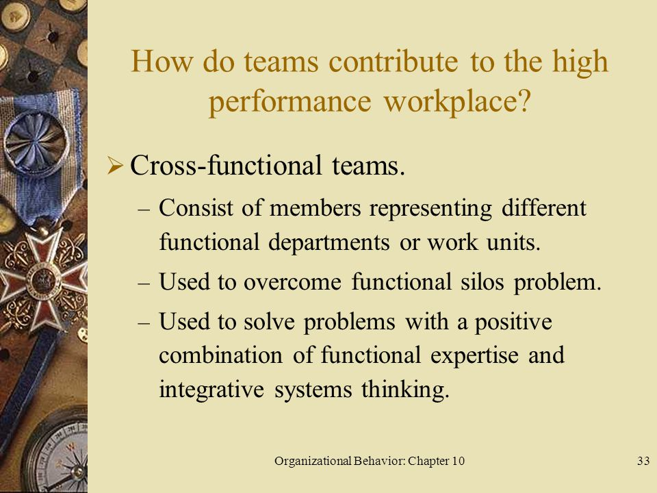 How do teams contribute to the high performance workplace