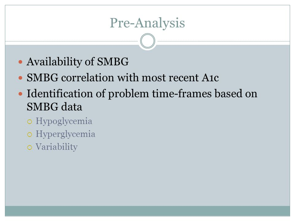 Pre-Analysis Availability of SMBG