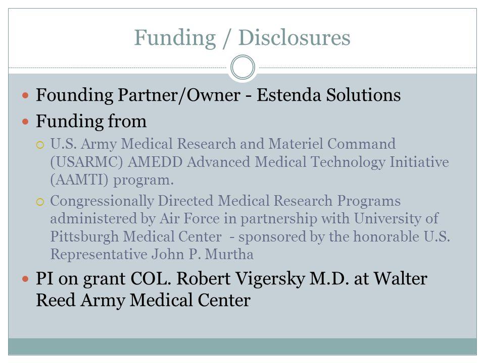Funding / Disclosures Founding Partner/Owner - Estenda Solutions