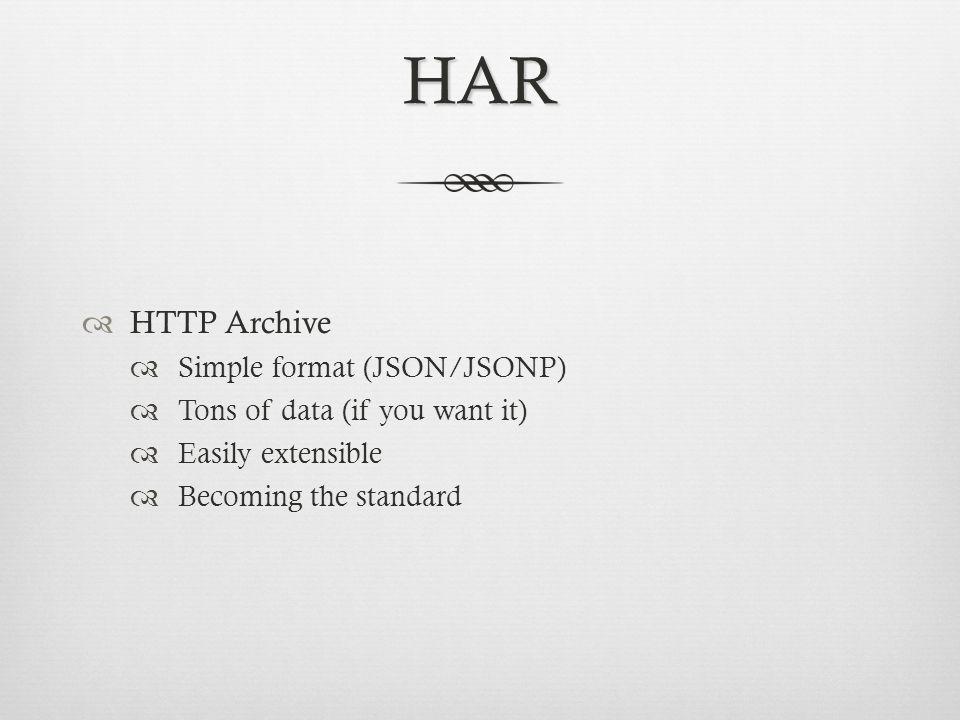 HAR HTTP Archive Simple format (JSON/JSONP)