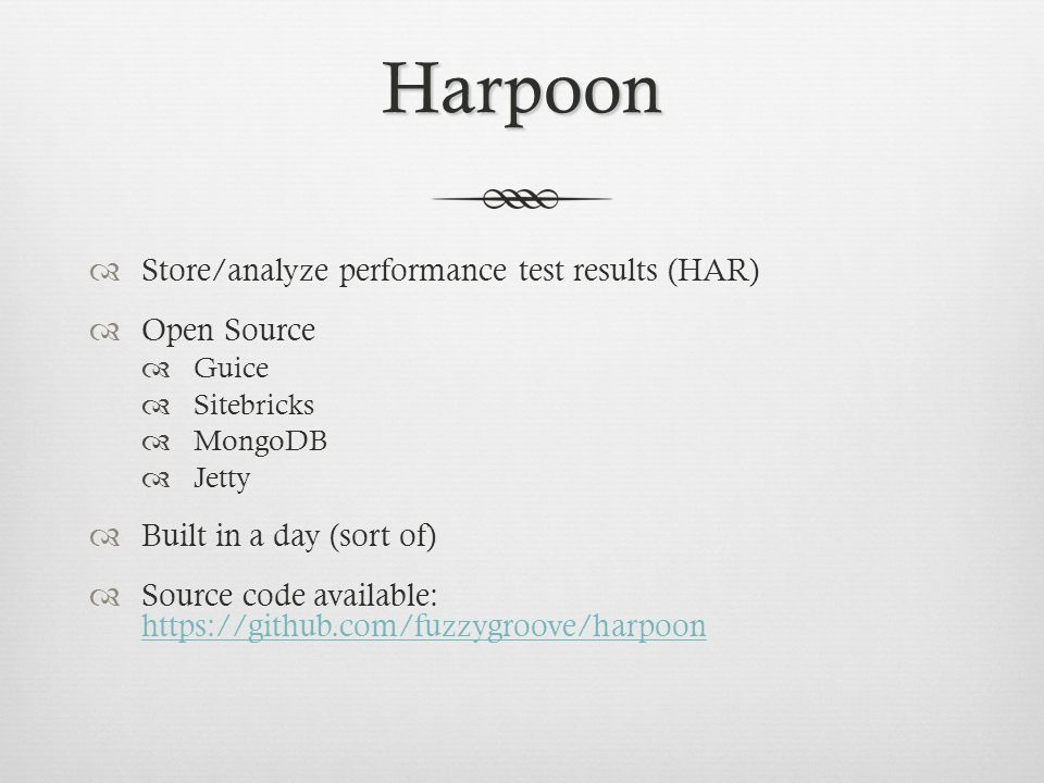 Harpoon Store/analyze performance test results (HAR) Open Source