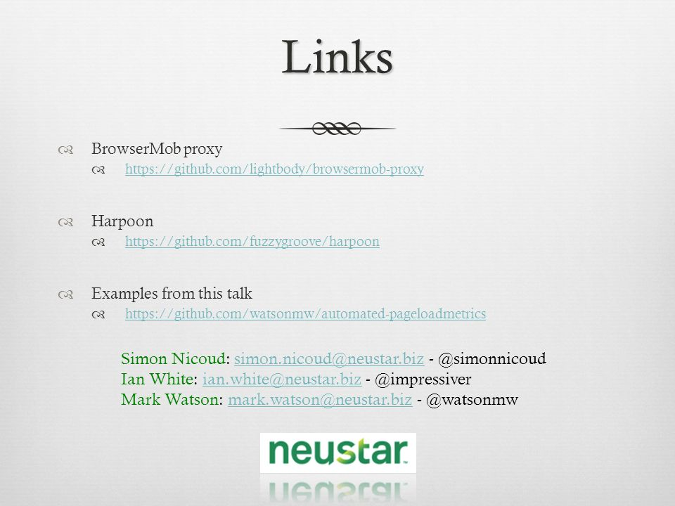 Links Simon Nicoud: simon.nicoud@neustar.biz - @simonnicoud