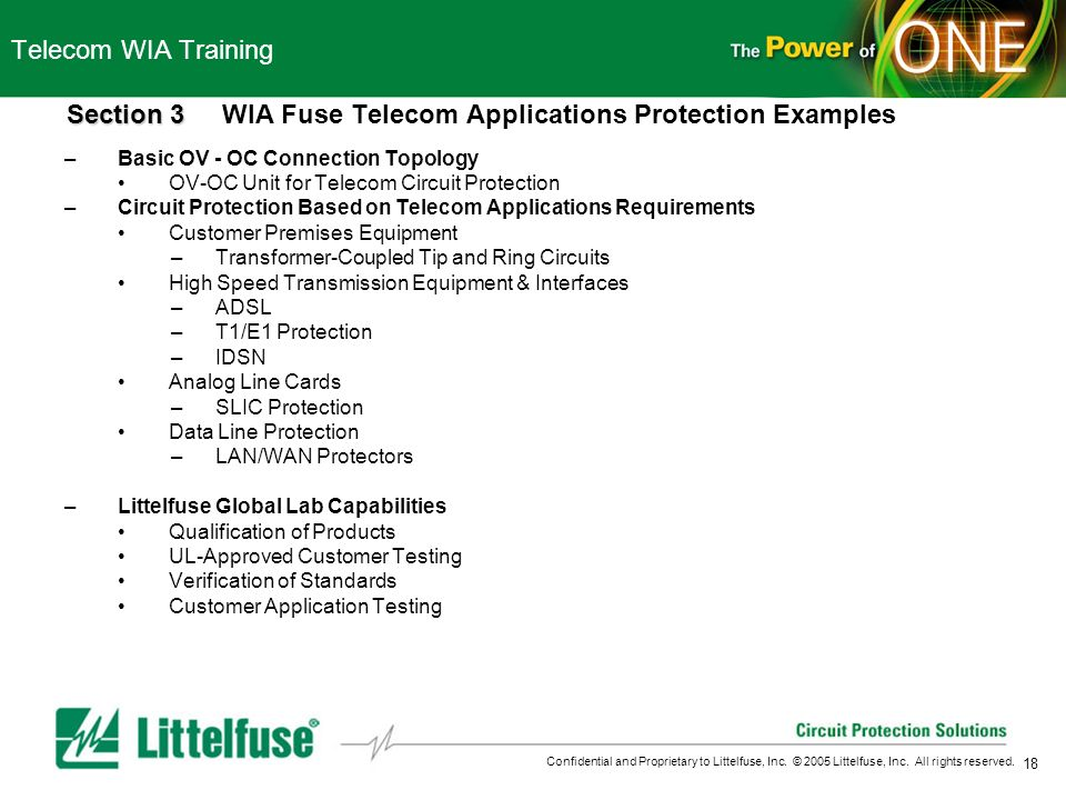 Section 3 WIA Fuse Telecom Applications Protection Examples