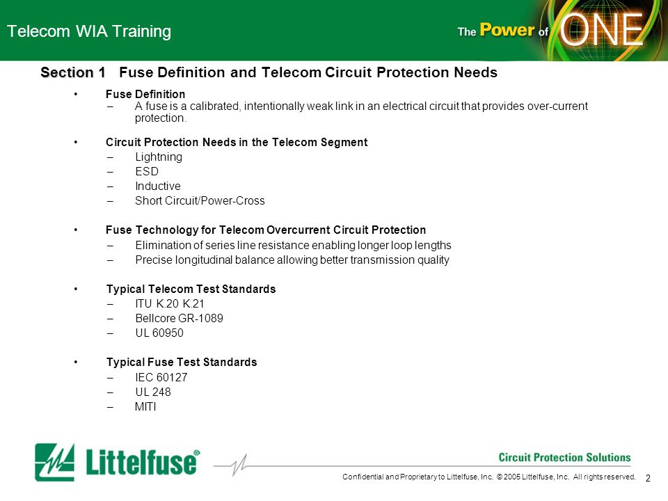 Telecom WIA Training Section 1 Fuse Definition and Telecom Circuit Protection Needs. Fuse Definition.
