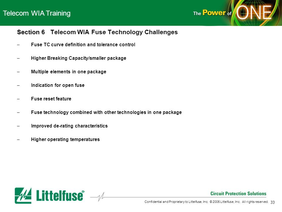 Telecom WIA Training Section 6 Telecom WIA Fuse Technology Challenges