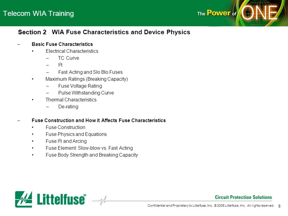 Telecom WIA Training Section 2 WIA Fuse Characteristics and Device Physics. Basic Fuse Characteristics.