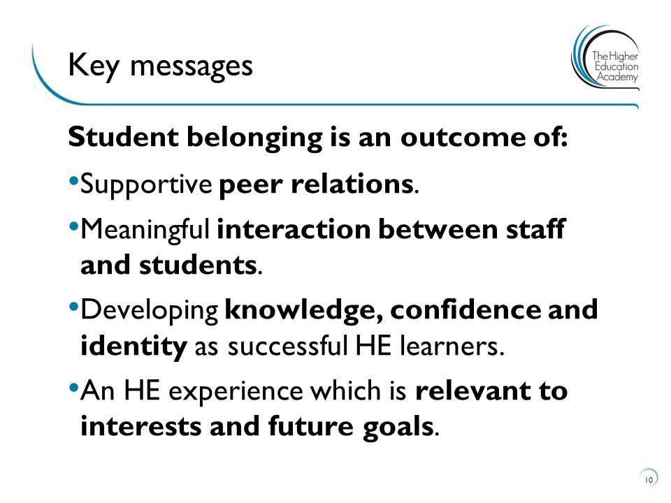Key messages Student belonging is an outcome of: