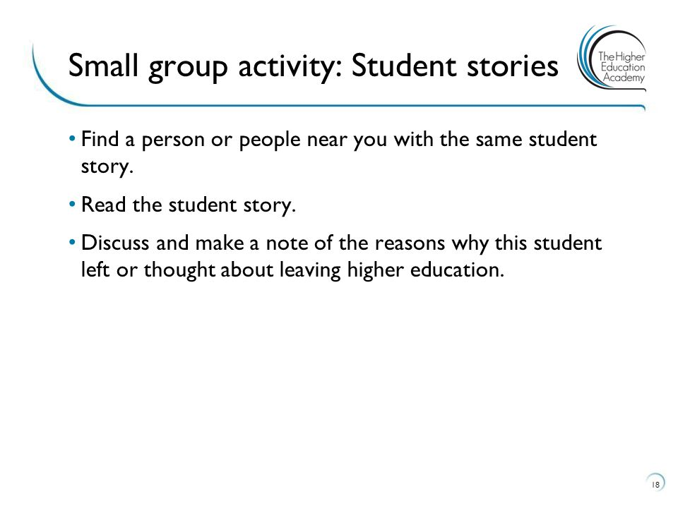 Small group activity: Student stories
