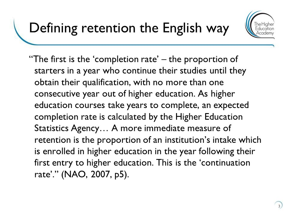 Defining retention the English way