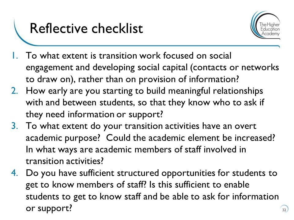 Reflective checklist