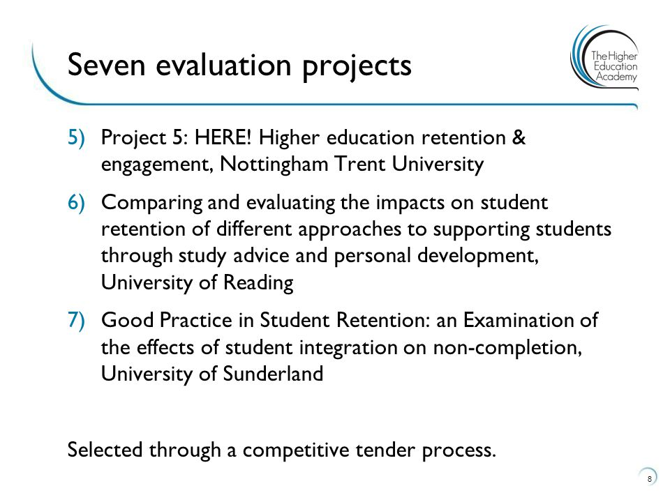Seven evaluation projects