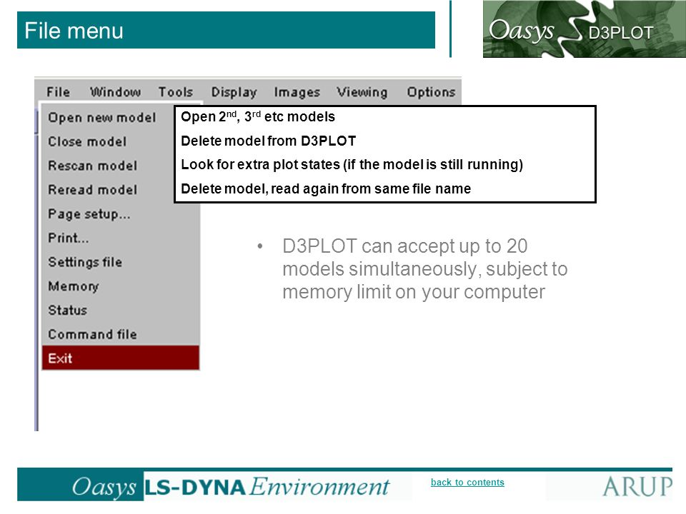 File menu Open 2nd, 3rd etc models. Delete model from D3PLOT. Look for extra plot states (if the model is still running)