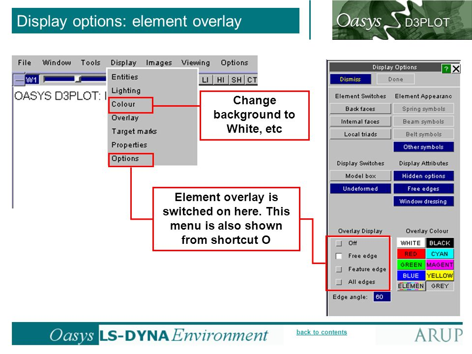 Display options: element overlay