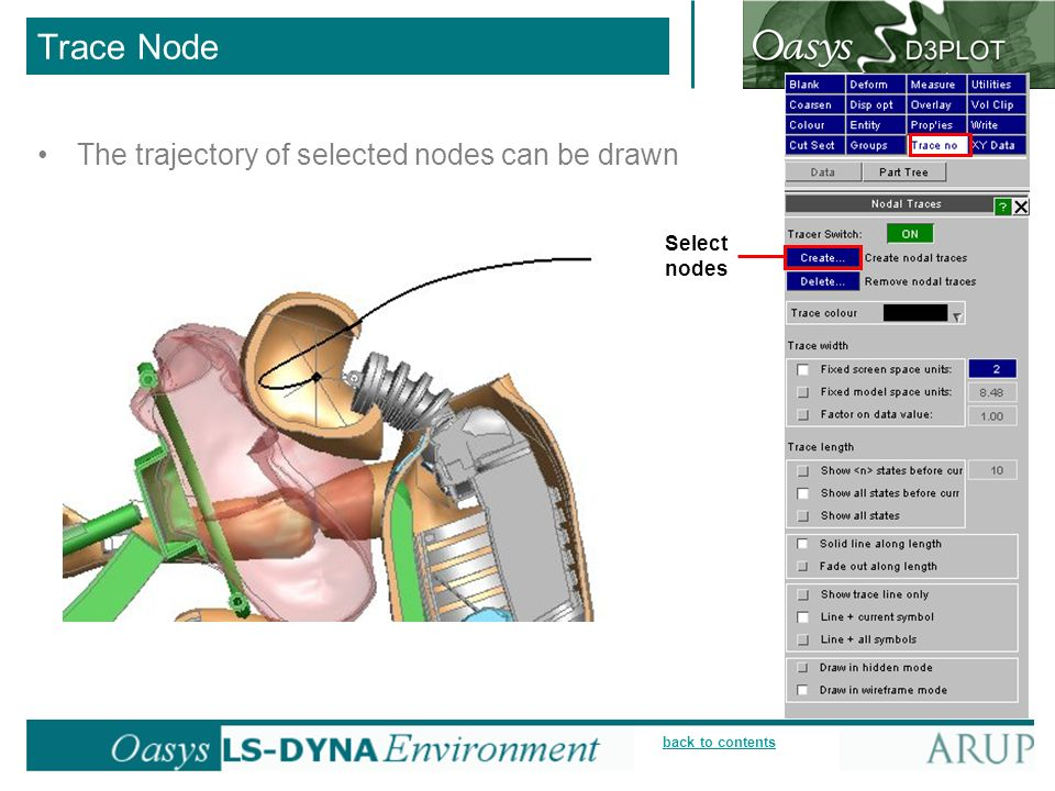 Trace Node The trajectory of selected nodes can be drawn Select nodes
